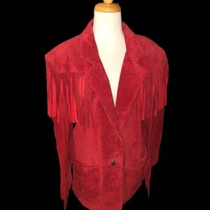 RED Vintage Suede Jacket size:S